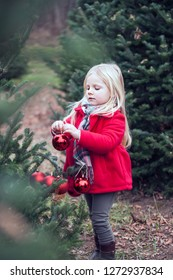 Portrait of serious little girl hanging baubles on tree. Girl decorating Christmas trees at farm