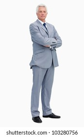 Portrait of a serious man in a suit against white background