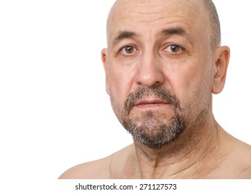 Portrait of Serious Middle aged tatar man on white background