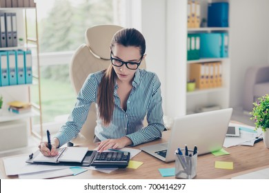 Portrait of serious young businesswoman accountant in formal wear and with pony tale, sitting at her work place and doing notes