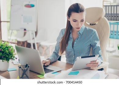 Portrait of serious young businesswoman accountant in formal wear and with pony tale, sitting at her work place and concentrated on data in the laptop and tablet