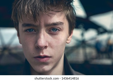 portrait of a serious young man