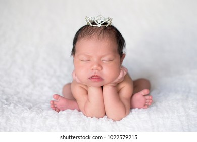 Portrait of seven day old sleeping newborn baby girl. She is wearing a rhinestone crown and is posed with her chin on her hands.