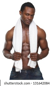 Portrait of a sexy african american man holding towel