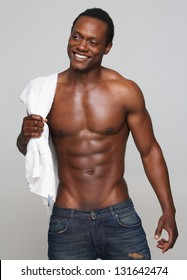 Portrait of a sexy african american man smiling