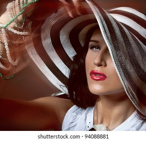 Portrait of sexy beautiful woman on grey background