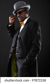 Portrait of a sexy black man in suit