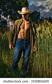 Portrait of sexy farmer or cowboy in hat with unbuttoned shirt on muscular torso, looking to a side, while standing next to hay field in countryside