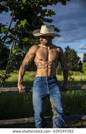 2757e9d6f27 Portrait Sexy Farmer Cowboy Hat Looking Stock Photo (Edit Now ...