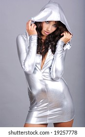 Portrait of a Sexy girl wearing silver dress