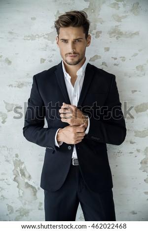 Portrait Sexy Man Black Suit Stock Photo Edit Now 462022468