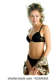 portrait of sexy woman in black lingerie and tiger painted jacket e387fea6d