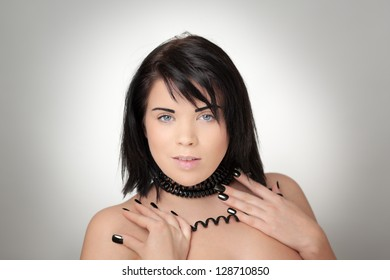 portrait of sexy woman with telephone cord wrapped around her neck