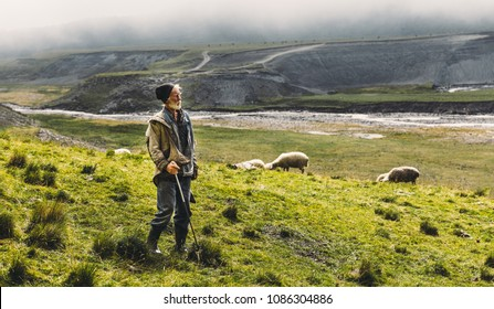 Portrait Of Shepherd With Sheep On The Field In Mountains, With Copy-Space. Agriculture Concept