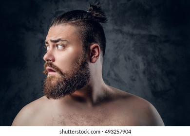 Portrait of shirtless fatty,  bearded male on grey background.