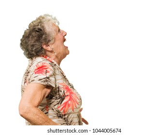 Portrait Of Shocked Senior Woman On White Background
