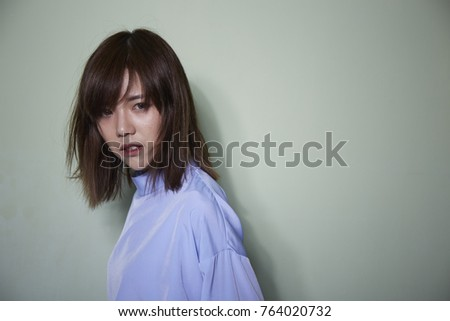 Portrait Short Hair Asian Girl On Stock Photo Edit Now 764020732
