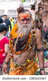 Portrait shot of Main Priest of Baba Kashi Vishwanath Temple - Varanasi, UttarPradesh/India - April 2019