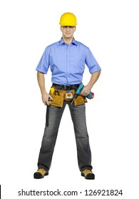 Portrait shot of a manual worker with drill machine, tool belt and wearing yellow hard hat