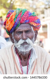 Portrait shot of Rajasthani people with traditional attire and turban : Jaisalmer, Rajasthan/India - Nov 2018