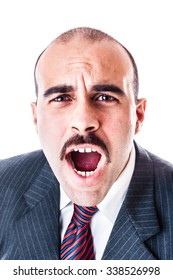 portrait of a shouting or screaming businessman isolated over a white background