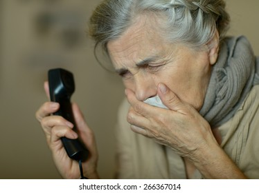 Portrait of a sick elderly woman closeup