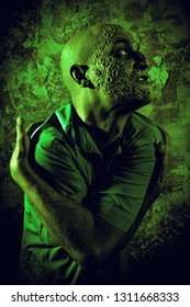 A portrait of a sick scientist after a failed experiment in the green light. desperation, hopelessness. Horror, halloween.