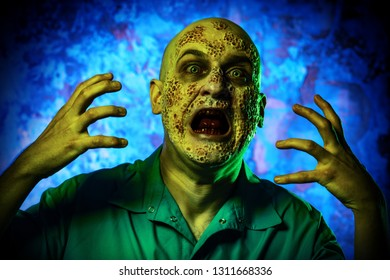 A portrait of a sick scientist after a failed experiment in the green shirt. desperation, hopelessness. Horror, halloween.