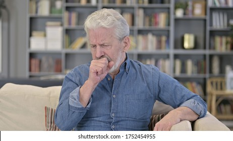 Portrait of Sick Senior Old Man Coughing