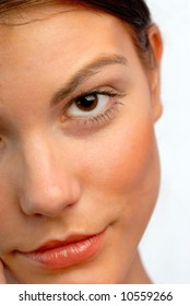 portrait, sight, female eye close up, on white background