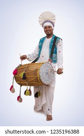 Portrait Of Sikh Man Playing On Drums