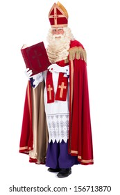 Portrait of Sinterklaas with his book, on a white background