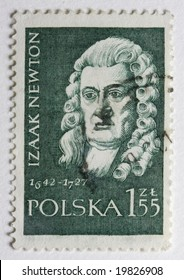 Portrait of Sir Isaac Newton on canceled, vintage post stamp from Poland