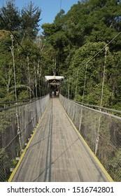 Portrait of the Situgunung Suspension Bridge. This suspension bridge is the longest in Southeast Asia. Situgunung area is part of the Mount Gede Pangrango National Park