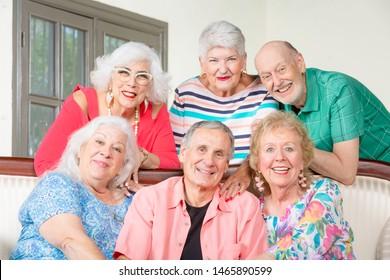 Portrait of six happy senior friends smiling