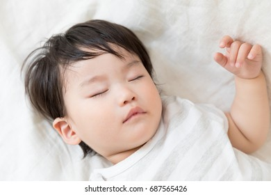 portrait of sleeping asian baby