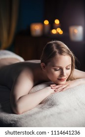 Portrait of sleeping woman after massage in the spa salon. beauty concept. healthy life