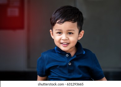Portrait small 3 year old toddler boy cute with happiness