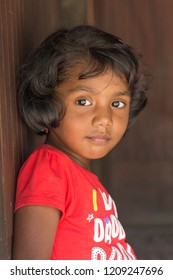 Portrait of a small girl child of Indian origin