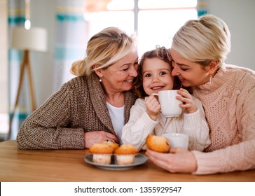 A portrait of small girl with mother and grandmother at the table at home.