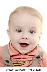 Portrait of the small smiling boy with widely open blue eyes without a teeth
