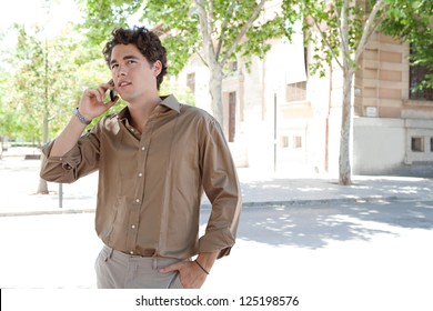 """Portrait of a smart businessman having a phone conversation on his """"smart phone"""" while standing near a classic office building in the city."""