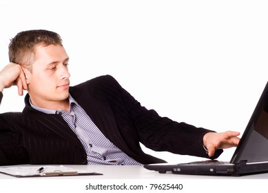 portrait of a smart businessman at table