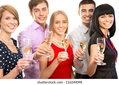Portrait of smart colleagues with flutes of champagne wishing you Merry Christmas