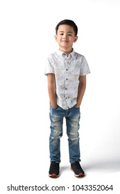 portrait of a smart and handsome boy on nice isolated white background.