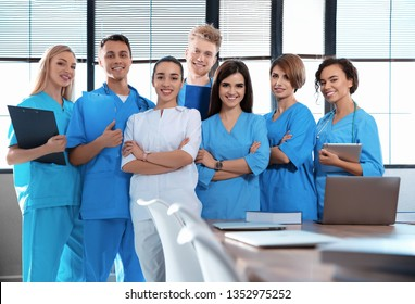 Portrait of smart medical students in college
