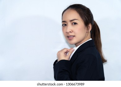 portrait of smile of asian business woman with white background