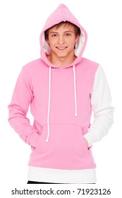 portrait of smiley guy in pink sweatshirt. isolated on white background