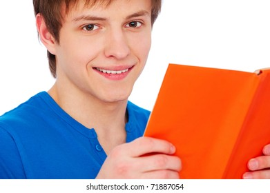 portrait of smiley man with book over white background