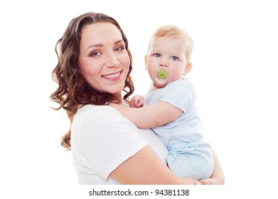 portrait of smiley mother with son over white background